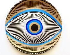 Evil Eye Decor Decorative Plate Golden Evil Eye by biancafreitas