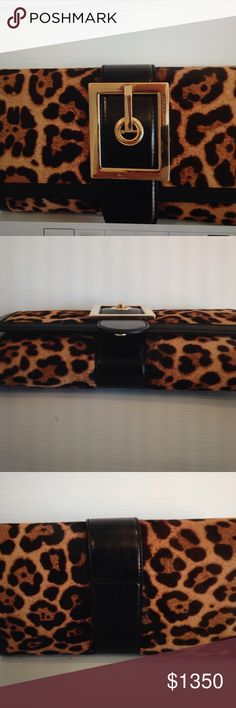 Gucci Lady Buckle Jaguar Print Clutch Gold hardware interior zip pockets rose beige leather lining magnetic closure made in Italy 11.4w 6h 2d Gucci Bags Clutches & Wristlets