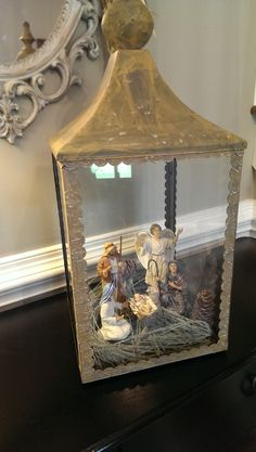 A few nativity figures look great inside this Chapel Lantern. Just add string lights!
