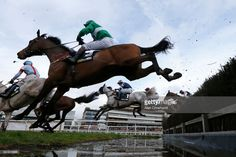 A general view as runners clear the water jump at Newbury Racecourse on March 4, 2017 in Newbury, England.