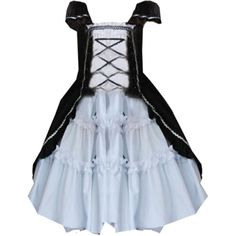 Partiss Women's Cotton Attactive Lolita Dress ($60) ❤ liked on Polyvore featuring dresses, blue cotton dress, cotton day dresses, blue dress and cotton dress