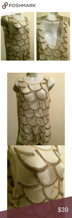 Beaded Sheer Mesh Tank,  Size M/L Unique sheer mesh tank with ornate beaded design.  This top is heavy,  due to the bead work.  It is perfect for layering and would look lovely during the holiday season.  The top does not have any tags inside.  I tried it on and guesstimated the size as a medium/large (I am a medium). Unbranded Tops Tank Tops