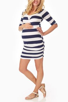 Navy Blue White Striped Fitted Maternity Dress. Would look great with leggings for a more modest look.