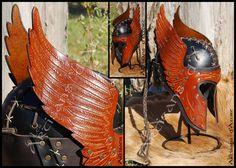 Engraved Wings Leather Helmet by ArtisansdAzure on deviantART