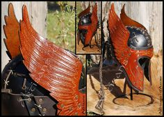 Engraved Wings Leather Helmet by ArtisansdAzure.deviantart.com on @deviantART