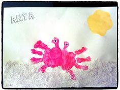 crabe, mer, vacances ,empreintes de mains, bricolage, enfant