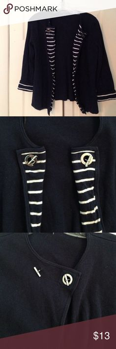 Navy Blue Nautical Sweater Perfect for any occasion. Great navy blue and white stripes down middle and on sleeves Sweaters Cardigans