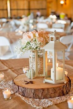 rustic lantern wedding centerpiece ideas with lace and burlap decorations
