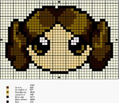 Star Wars Leia perler bead pattern