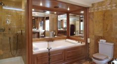 A bespoke bathroom and bath. Bathroom Furniture, Bathroom Ideas, Bespoke Furniture, Corner Bathtub, Decorating Ideas, Home, Custom Furniture, Ad Home, Homes