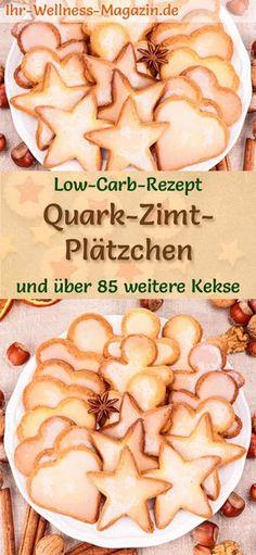 Low-Carb-Weihnachtsgebäck-Rezept für Quark-Zimt-Plätzchen: Kohlenhydratarme, kalorienreduzierte Weihnachtskekse - ohne Getreidemehl und Zucker gebacken ... #lowcarb #backen #weihnachten