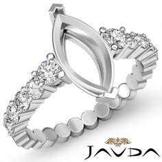 Diamond Engagement Marquise Semi Mount Shared Prong Women's Ring Platinum 0 70ct   eBay