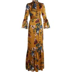 Erdem Stephanie floral-print silk gown ($2,320) ❤ liked on Polyvore featuring dresses, gowns, floral printed dress, floral gown, floral evening gown, silk dress and floral pattern dress