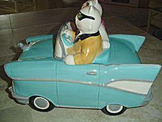 Clay Art Cruisin Cats 1957 Chevy Ceramic Cookie Jar