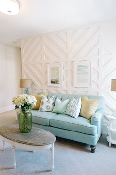 Wall treatment for media room: Paneled detailing in a Utah home designed by Lindy Allen of Four Chairs Furniture & Design (via House of Turquoise). House Of Turquoise, Turquoise Living Rooms, Turquoise Couch, Home Living Room, Living Room Decor, Living Room Accent Wall, Feature Wall Living Room, Home Furniture, Furniture Design