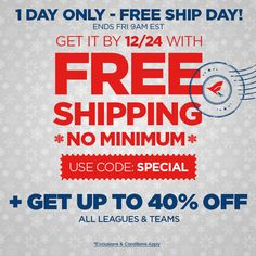 Big savings on fan favorites! Hurry, items sell out fast ......Up to 40% across the site + FREE 12/24 DELIVERY via 3-Business Day shipping ------------- Use code: SPECIAL