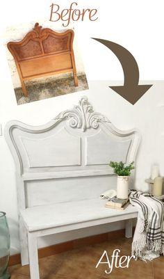 Vintage Headboard Bench Tutorial · Via www.sweetings.net #headboard #bench #vintage #shabbychic #makeover