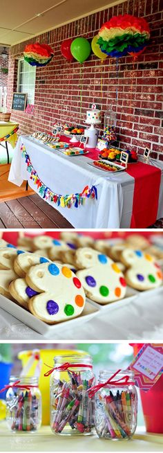 love the cookie pallets when teaching primary colors. Artist Birthday Party, Birthday Painting, Christmas Birthday Party, 6th Birthday Parties, Birthday Fun, Birthday Ideas, Party Treats, Party Gifts, Rainbow Art