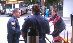 Floydscoffee:  Fred from Portlandia at our downtown walk-up window this afternoon. Love the man in he uniform.
