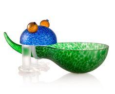 Frosch/Frog Bowl: 24-01-32 in Green, Hand-Blown Art Glass by Borowski Glass Studio