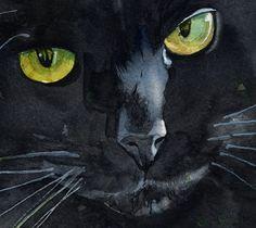 "Print Black Cat Watercolor Painting Art ""Sweet""   eBay"