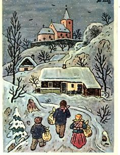 Art Painting Josef Lada Navrat do vsi for Like the Art Painting Josef Lada Navrat do vsi Get it at Vintage Christmas Cards, Christmas Art, Xmas Cards, Advent, Antique Pictures, Winter Art, Snow Scenes, Whimsical Art, Vintage Postcards