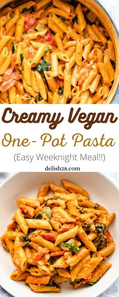 Chicken Parmesan Recipes, Crispy Chicken, Creamy Tomato Sauce, Spinach Pasta, One Pot Pasta, Roasted Red Peppers, Easy Weeknight Meals, Food Blogs, Penne