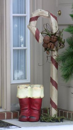 Out door Christmas decorations - Boots and Candy Cane