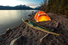 Spent the day paddling on Lake McDonald and now waiting for darkness to shoot star trails. Camping on lake McDonald is not allowed... so I only set this tent up to make a few shots..... I only wish you could camp along the shores of this amazing lake.