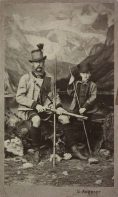 Kaiser Franz Josef I and son , kronprinz Rudolf, posing as if they were hunting.   By Victor Angerer, C 1863.