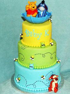Winnie the Pooh Cake using Satin Ice Fondant. Created by Adriana Aranda of Simply Sweet Creations.