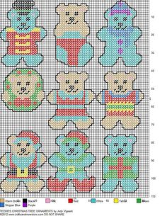 Christmas Ornaments ,plastic canvas: bears (742×960)