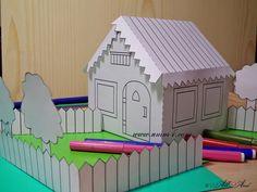 werkblad huis, free printable; inkleuren, uitknippen en in elkaar plakken.