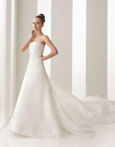Strapless A-line organza bridal gown