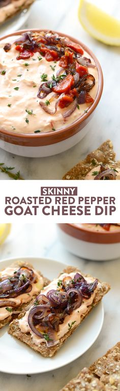 With Sunday football back in action, this Skinny Roasted Red Pepper and Goat Cheese Dip makes for the most perfect appetizer. It's made with a non-fat Greek yogurt base, pureed roasted red peppers, and goat cheese!