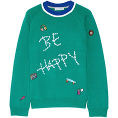 Mira Mikati Be Happy embellished merino wool sweater (9,190 MXN) ❤ liked on Polyvore featuring tops, sweaters, merino sweater, loose sweater, embroidered sweaters, merino wool tops and cartoon sweater