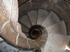 Gaudi: inside Sagrada Familia. It's a bit scary going down these stairs because it's almost pitch black and there is no railing..