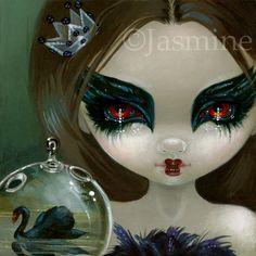 Fairy Faces 201 Jasmine Becket Griffith Art Faery Black Swan Signed 6x6 Print | eBay
