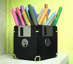 Reciclagem de Disquete como porta lápis