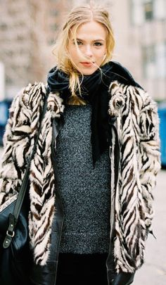 Grey knit, black scarf, zebra jacket