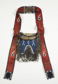 Comanche, Bandolier bag and powder horn Native American Artifacts, Native American Beadwork, Native American Tribes, Native American History, Native Americans, Powder Horn, Hunting Bags, Plains Indians, Beaded Bags