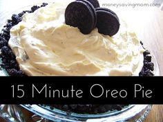 For my Oreo loving friends, this looks yummy! 15 Minute Oreo Pie: A quick dessert for holidays or any day! Oreo Pie Recipes, Oreo Desserts, Easy Desserts, Delicious Desserts, Dessert Recipes, Yummy Food, Do It Yourself Food, How Sweet Eats, Love Food