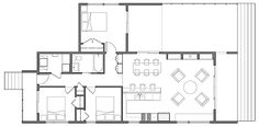 I like the main layout of this house but would do away with the third bedroom sticking out on the side.