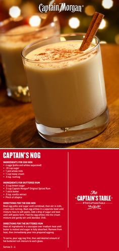 Don't Fear the Nog… Rich, buttered rum. One flavor-packed sip. Treat your crew to two classic holiday drink recipes in this indulgent glassful. Bar Drinks, Cocktail Drinks, Yummy Drinks, Cocktail Recipes, Drink Recipes, Eggnog Cocktail, Beverages, Eggnog Drinks, Eggnog Alcohol