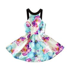 Chnli Fashion Women Sexy Sleeveless Floral Print Summer Black Straps... ($13) ❤ liked on Polyvore featuring dresses, sleeveless cocktail dress, off the shoulder cocktail dress, white beach dress, white party dresses and sexy white dresses