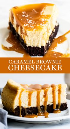 Caramel Brownie Cheesecake features a thick fudgy brownie bottom with a luscious layer of creamy vanilla cheesecake all topped with salted caramel sauce. Easy homemade, from-scratch recipe that is a great dessert idea for a crowd this fall or Thank Cheesecake Brownies, Cheesecake Caramel, Baked Cheesecake Recipe, Best Cheesecake, Caramel Brownies, Fudgy Brownies, Cheesecake Desserts, Köstliche Desserts, Dessert Recipes