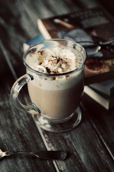 Spiced Chai Tea..one of my favorite ways to relax, my recipe includes: Organic Chai Black tea, water (obviously), Amber/Light Blue Agave Nectar, Pumpkin Pie spice, nutmeg, Very Vanilla Silk Milk, and whipped cream.