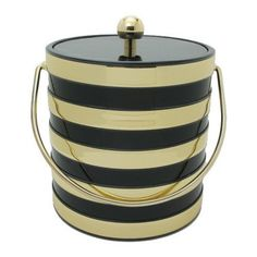 Black & Gold Striped Ice Bucket - Waiting On Martha