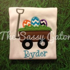 Easter Egg Wagon Personalized Applique TShirt by TheSassyGator, $23.99