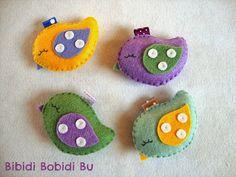 Bibidi+Bobidi+Bu:+Uccellini+portachiavi+di+pannolenci